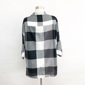 LOFT Tops - loft | buffalo plaid black white button down shirt
